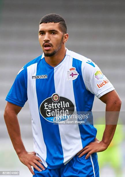 Zakaria Bakkali of Deportivo de La Coruna reacts during the preseason friendly match between Racing de Ferrol and Deportivo de La Coruna on July 27...