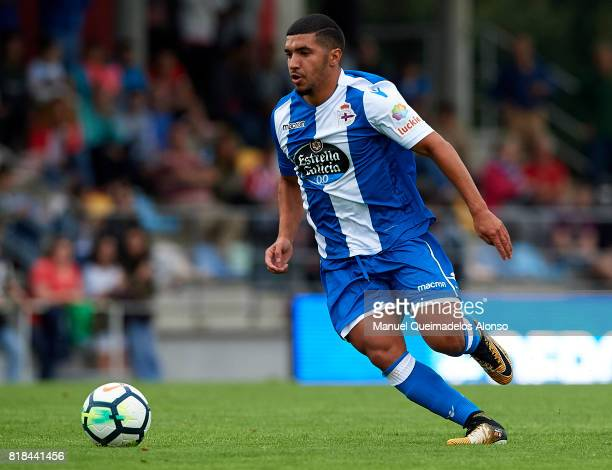 Zakaria Bakkali of Deportivo de La Coruna runs with the ball during the preseason friendly match between Cerceda and Deportivo de La Coruna at O Roxo...