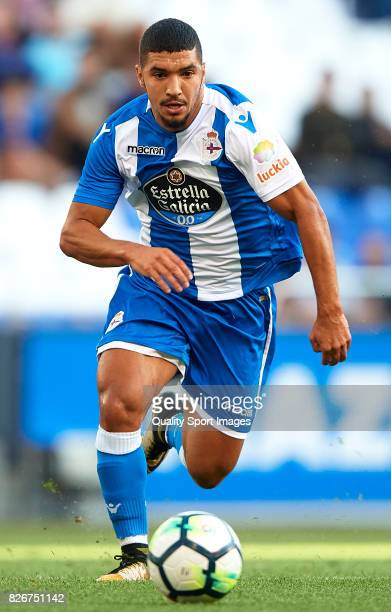 Zakaria Bakkali of Deportivo de La Coruna runs with the ball during the Pre Season Friendly match between Deportivo de La Corua and West Bromwich...