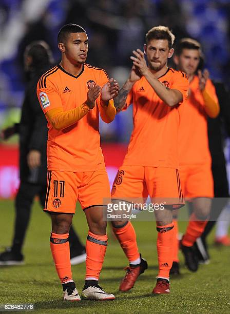 Zakaria Bakkali of Valencia CF applauds with Fede Cartabia after Valencia beat Leganes 31 in the Copa del Rey Round of 32 match between CD Leganes...