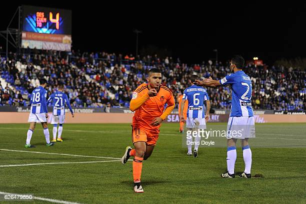 Zakaria Bakkali of Valencia CF celebrates after scoring his team's 3rd goal during the Copa del Rey Round of 32 match between CD Leganes and Valencia...