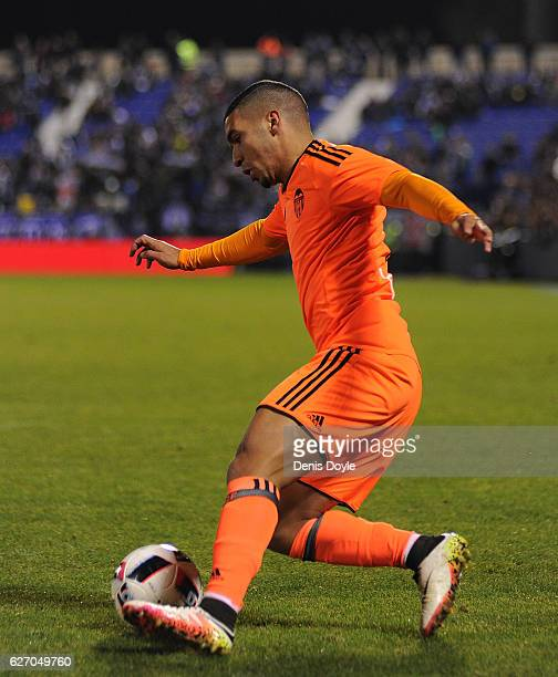 Zakaria Bakkali of Valencia CF in action during the Copa del Rey Round of 32 match between CD Leganes and Valencia CF at Estadio Municipal de...