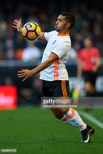 Zakaria Bakkali of Valencia controls the ball during the La Liga match between Valencia CF and Athletic Club at Mestalla Stadium on February 19 2017...