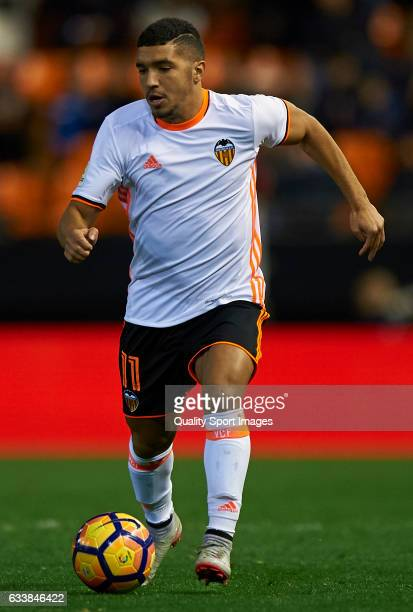 Zakaria Bakkali of Valencia in action during the La Liga match between Valencia CF and SD Eibar at Mestalla Stadium on February 4 2017 in Valencia...