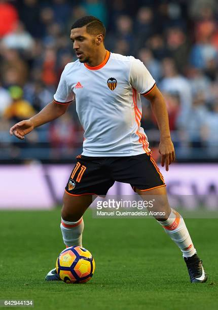 Zakaria Bakkali of Valencia in action during the La Liga match between Valencia CF and Athletic Club at Mestalla Stadium on February 19 2017 in...