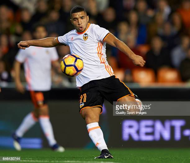 Zakaria Bakkali of Valencia in action during the La Liga match between Valencia CF and CD Leganes at Mestalla Stadium on February 28 2017 in Valencia...