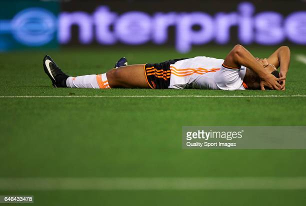 Zakaria Bakkali of Valencia lies on the pitch during the La Liga match between Valencia CF and CD Leganes at Mestalla Stadium on February 28 2017 in...
