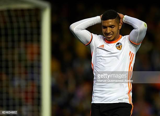 Zakaria Bakkali of Valencia reacts as he fails to score during the La Liga match between Valencia CF and Granada CF at Mestalla Stadium on November...