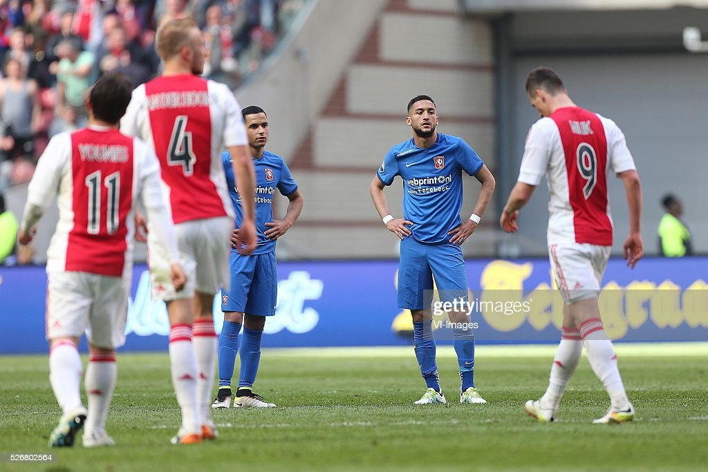 Zakaria El Azzouzi of FC Twente, Hakim Ziyech of FC Twente dissapointed during the Dutch Eredivisie match between Ajax Amsterdam and FC Twente at the Amsterdam Arena on May 01, 2016 in Amsterdam, The Netherlands