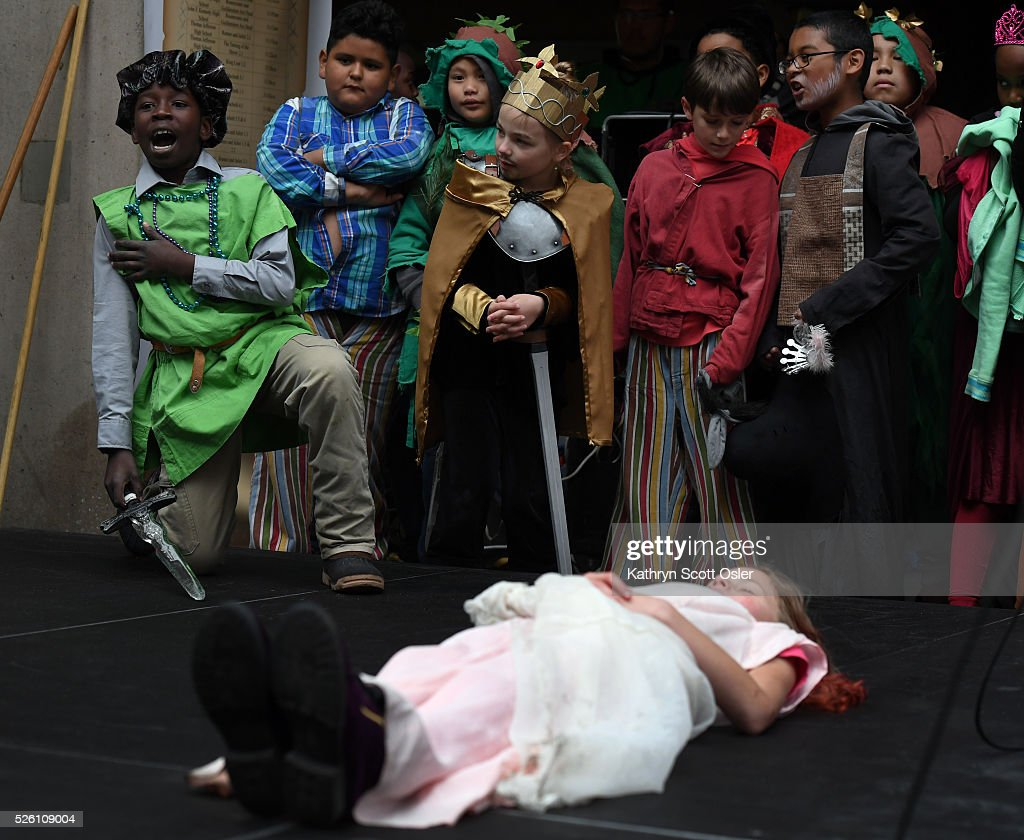 Zakaria Kharif, 10, left, performs his part as Count Paris in Romeo and Juliet as his fellow classmates from Montclair Elementary School watch from the side of the stage. Despite rain and snow, over 5,000 Denver Public School students participate in the 32nd annual Denver Public School Shakespeare Festival at the Denver Center for the Performing Arts Complex.The day-long festival hosts a forum for students from Kindergarten through 12th grade to perform sonnets and scenes from the works of Shakespeare, as well as dance, vocal, and instrumental music of Shakespeare's time.