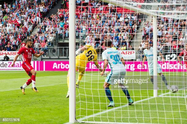 Zakaria Labyad of FC Utrecht scores during the UEFA Europa League fourth round qualifying first leg match between FC Utrecht and FK Zenit St...