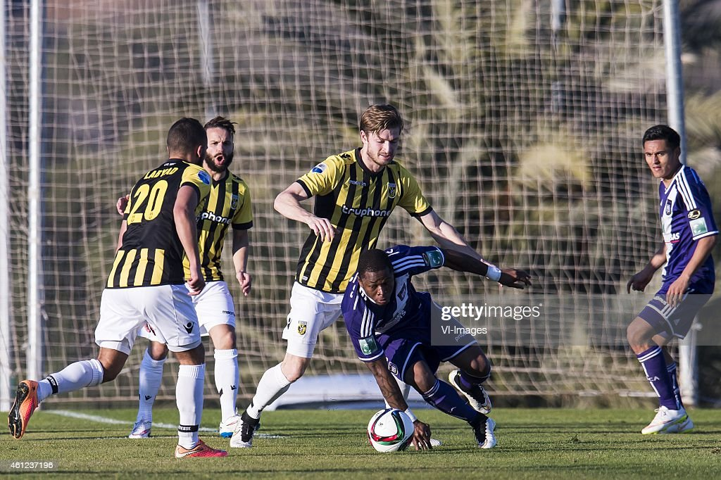 Zakaria Labyad of Vitesse, Rochdi Achenteh of Vitesse, Jan-Arie van der Heijden of Vitesse, Zoro <a gi-track='captionPersonalityLinkClicked' href=/galleries/search?phrase=Cyriac+Gohi+Bi&family=editorial&specificpeople=12848216 ng-click='$event.stopPropagation()'>Cyriac Gohi Bi</a> of Anderlecht, <a gi-track='captionPersonalityLinkClicked' href=/galleries/search?phrase=Andy+Najar&family=editorial&specificpeople=6872158 ng-click='$event.stopPropagation()'>Andy Najar</a> of Anderlecht during the International friendly match between Vitesse Arnhem and RSC Anderlecht on January 9, 2015 at Alicante, Spain.