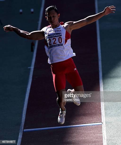 Zakaria Malik of Indonesia in action during the Men's Long Jump round one of the Athletics Competition during the 2013 SEA Games at the Wunna Theikdi...