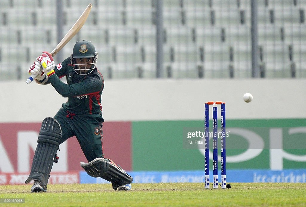 Zakir Hasan of Bangladesh U19 bats during the ICC U 19 World Cup Semi-Final match between Bangladesh and West Indies on February 11, 2016 in Dhaka, Bangladesh.
