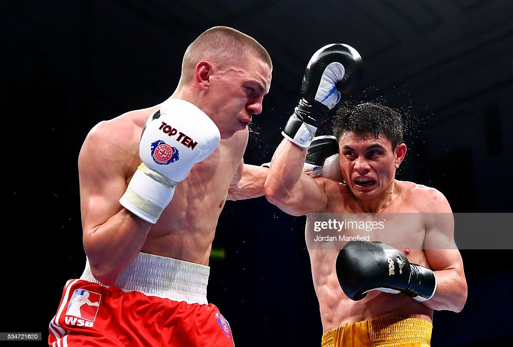 Zakir Safiullin of Astana Arlans (R) in action against Luke McCormack of British Lionhearts (L) in the semi-final of the World Series of Boxing between the British Lionhearts and Kazakhstan at York Hall on May 27, 2016 in London, England.