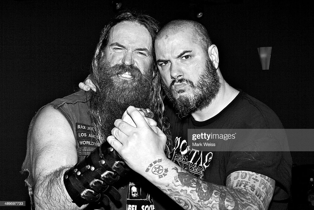 Zakk Wylde of Black Label Society and Phil Anselmo of Down after their performance of Pantera's 'I'm Broken' with Black Label Society at Best Buy Theatre on May 10, 2014 in New York, New York.