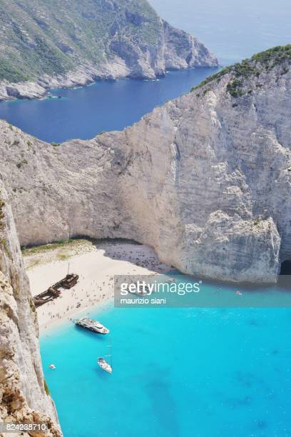Zakynthos, Greek Islands. Elevated view of famous Navagio shipwreck beach