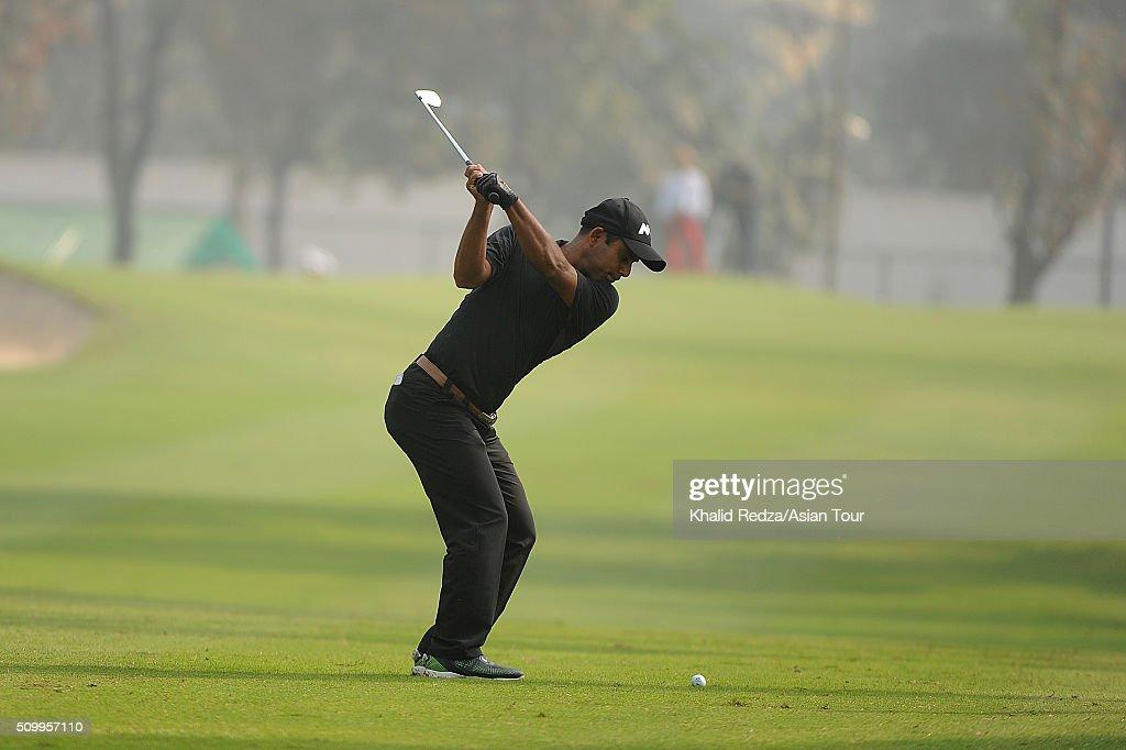 Zamal Hossain of Bangladesh plays a shot during round four of the Bashundhara Bangladesh Open at Kurmitola Golf Club on February 13, 2016 in Dhaka, Bangladesh.