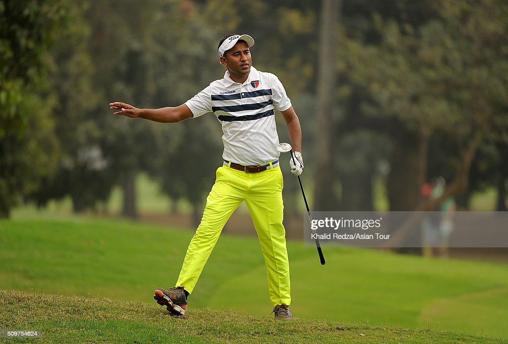 Zamal Hossain of Bangladesh plays a shot during round three of the Bashundhara Bangladesh Open at Kurmitola Golf Club on February 12, 2016 in Dhaka, Bangladesh.