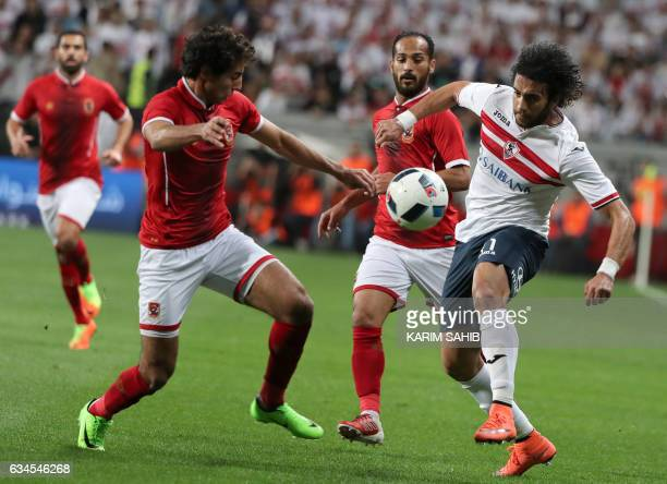 Zamalek's defender Mohamed Nasef vies for the ball with AlAhly's Mohammed Jamal during the Egyptian Super Cup football match between AlAhly and...
