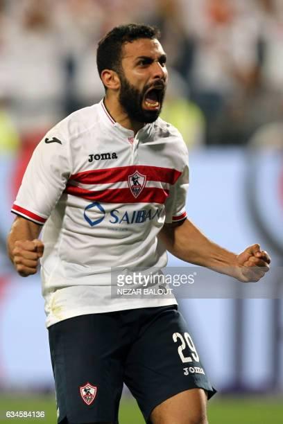 Zamalek's defender Osama Ibrahim celebrates during the Egyptian Super Cup football match between AlAhly and Zamalek on February 10 at Sheikh Mohammed...