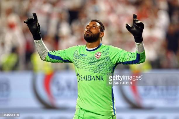 Zamalek's goalkeeper Mahmoud Abdel Rahim celebrates during the Egyptian Super Cup football match between AlAhly and Zamalek on February 10 at Sheikh...