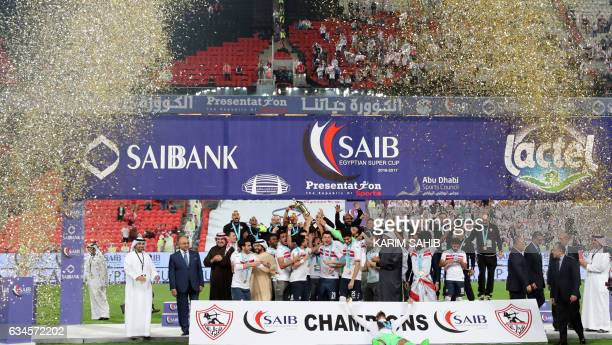 Zamalek's players celebrate after winning the Egyptian Super Cup football match against AlAhly on February 10 at Sheikh Mohammed Bin Zayed stadium in...