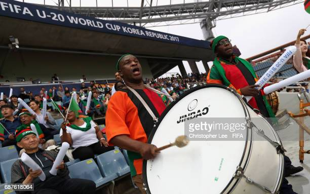 Zambia fan with a drum during the FIFA U20 World Cup Korea Republic 2017 group C match between Zambia and Iran at Jeju World Cup Stadium on May 24...