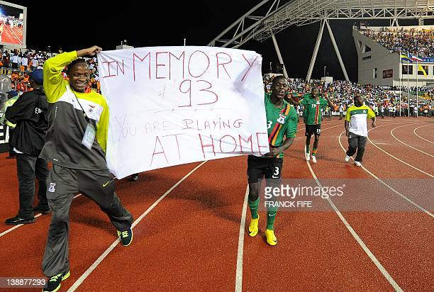 Zambian national football team players celebrate their victory on February 12 20 at the end of the final match of the 2012 African Cup of Nations...