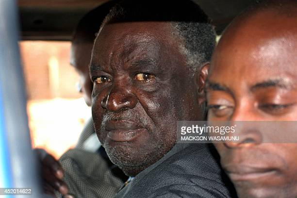 Zambian opposition Patriotic Front leader Michael Sata is being led to Lusaka Central Prison by policemen after he appeared in court 26 July 2005 on...