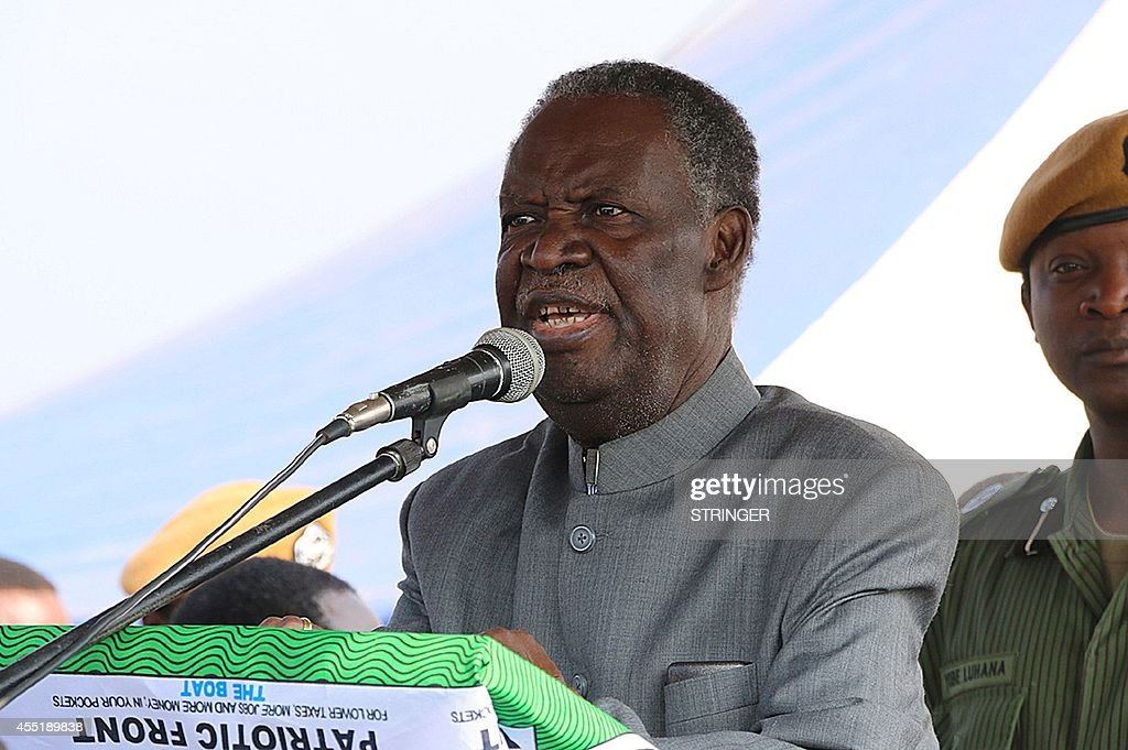 Zambian president <a gi-track='captionPersonalityLinkClicked' href=/galleries/search?phrase=Michael+Sata&family=editorial&specificpeople=1944545 ng-click='$event.stopPropagation()'>Michael Sata</a> addresses supporters during an election campaign meeting in Solwezi on September 10, 2014. The next national election in Zambia is not due until 2016, but in the event of ailing 77-year-old Sata's death a presidential vote would have to be held within 90 days.