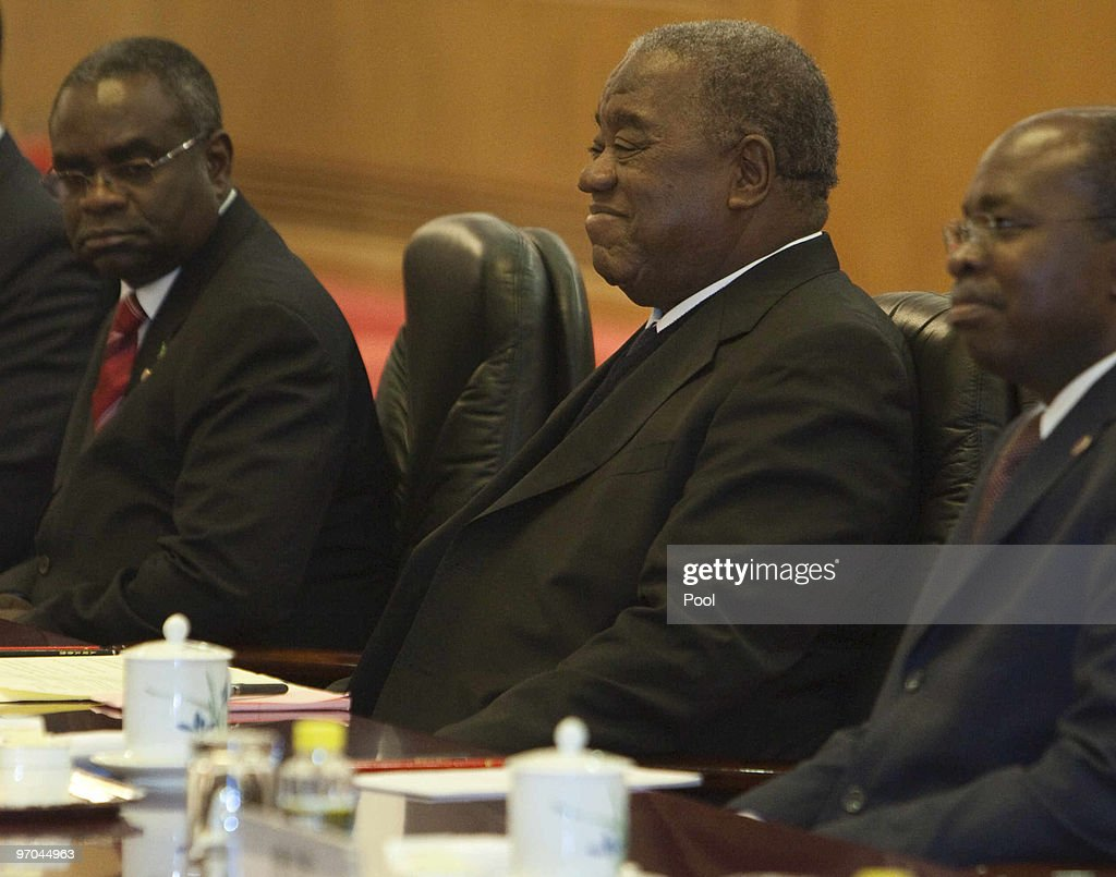 Zambian President Rupiah Bwezani Banda attends talks with with Chinese President Hu Jintao in the Great Hall of the People in Beijing China on...