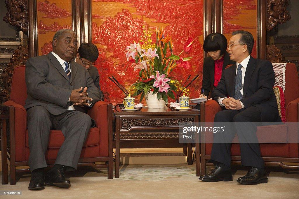 Zambian President Rupiah Bwezani Banda meets with Chinese Premier Wen Jiabao at the Zhongnanhai leaders compound on February 26 2010 in Beijing China...