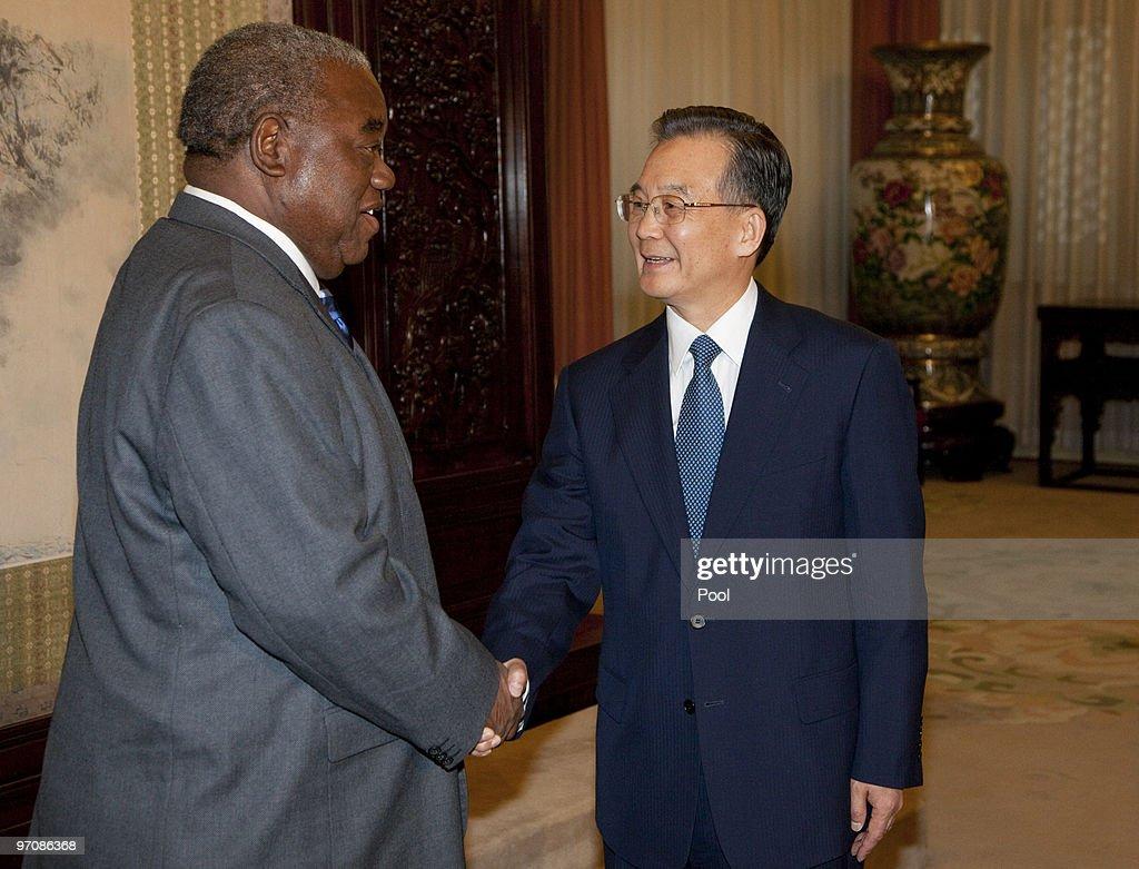 Zambian President Rupiah Bwezani Banda shakes hands with Chinese Premier Wen Jiabao at the Zhongnanhai leaders compound on February 26 2010 in...