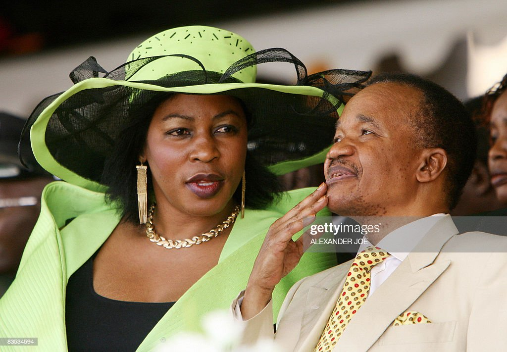 Zambian second President Frederick Chiluba and his wife Regina are pictured as Rupiah Banda is sworn in as Zambia's fourth president in Lusaka on...