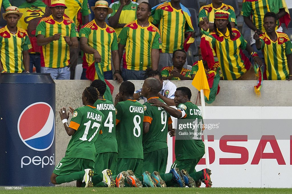 Zambian supporters celebrating after scoring a goal during the 2013 Orange African Cup of Nations match between Zambia and Ethiopia from Mbombela Stadium on January 21, 2012 in Nelspruit, South Africa
