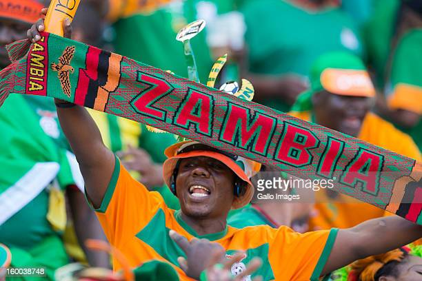 Zambiap fan enjoys the atmosphere during the 2013 African Cup of Nations match between Zambia and Nigeria from Mbombela Stadium on January 25 2013 in...