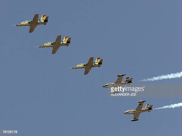 Zambia's Airforce makes a flypast with their Chinesemade planes at Lusaka International Airport 15 August 2007 before African Heads of State to...