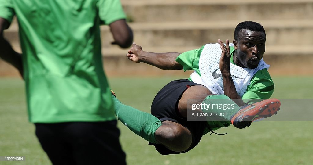 Zambia's Captain Christopher Katongo kicks the ball during a training session in Johannesburg on January 10, 2013 as part of the preparation of the football Africa Cup of Nations (CAF) 2013. Zambia, the defending African Champions, will participate in the CAF 2013 that will take place in South Africa from January 19 to February 10.