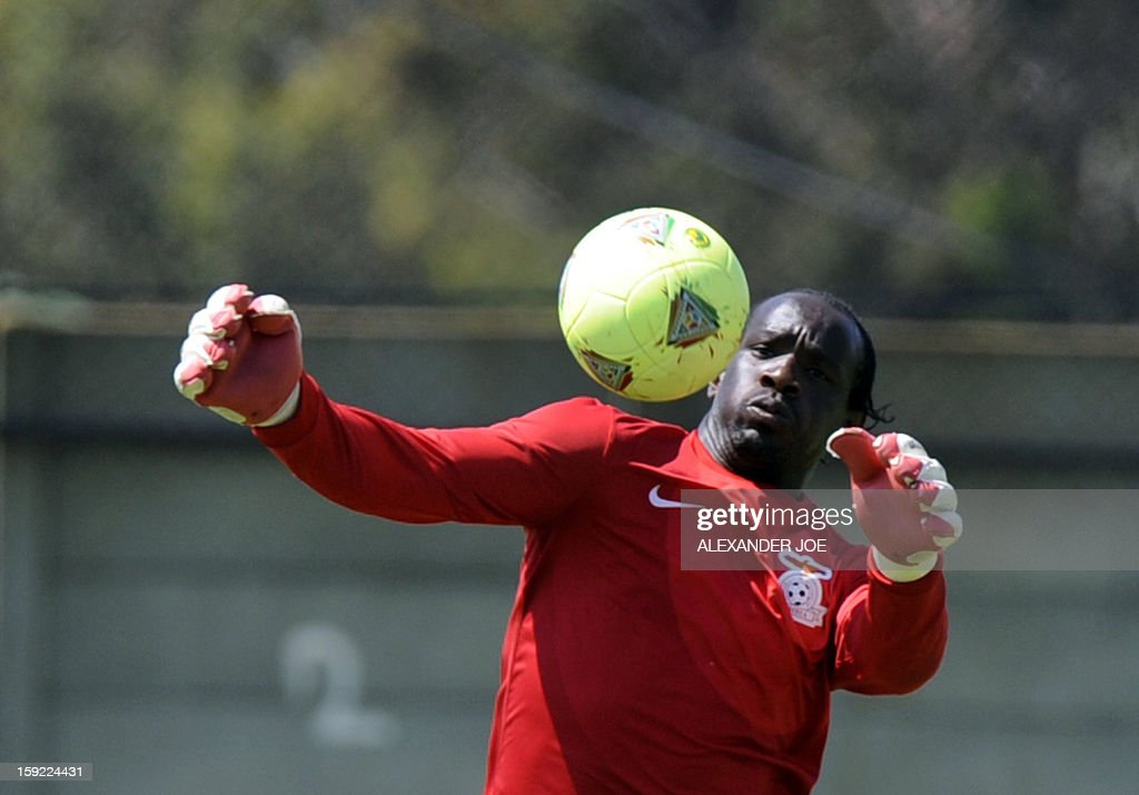 Zambia's goalkeeper Kennedy Mweene plays with a ball during a training in Johannesburg on January 10, 2013 ahead of the 2013 Africa Cup of Nations. Zambia are the defending Champions. The 2013 Africa Cup of Nations will be held in South Africa from January 19 to February 10.