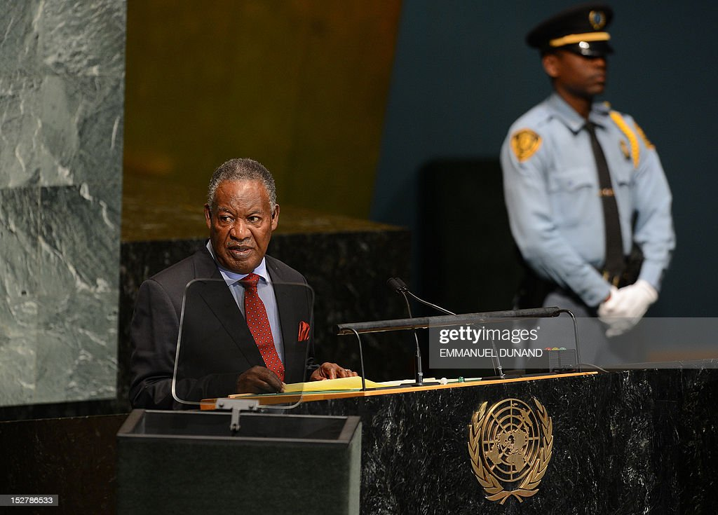 Zambia's President Michael Chilufya Sata addresses the 67th UN General Assembly at the United Nations headquarters in New York, September 26, 2012. AFP PHOTO/Emmanuel DUNAND