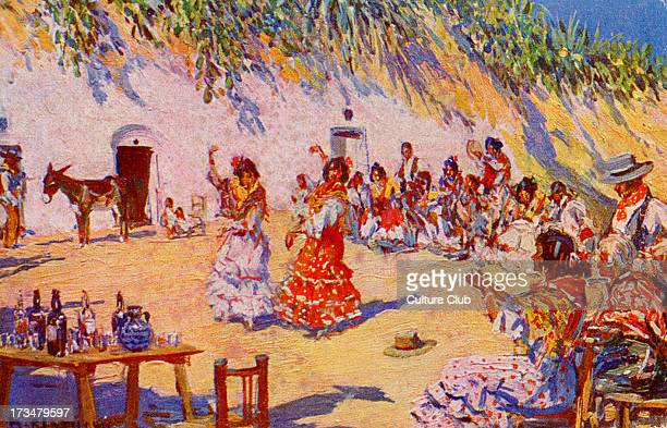 Zambra gitana Shows gathering of Spanish gypsies to dance and play music Illustration by Mariano Bertuchi Spanish artist 6 February 1884 20 June 1955