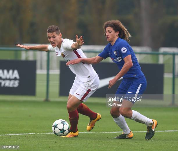 LR Zan Celar of AS Roma Under 19s and Ethan Ampadu of Chelsea Under 19s during UEFA Youth League match between Chelsea Under 19s against AS Roma...