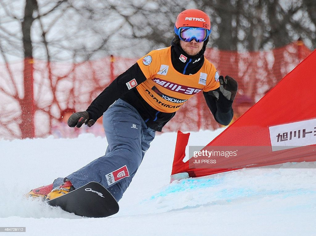 Zan Kosir of Slovakia performs during men's parallel giant slalom event of the Snowboard World Cup in Asahikawa, northern Japan, on February 28, 2015. Kosir won the event. AFP PHOTO/Jiji Press JAPAN OUT