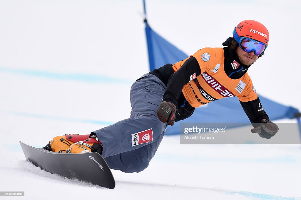 Zan Kosir of Slovenia competes in the Men's Parallel Slalom on the day two during FIS Snowboard World Cup - Alpine Snowboard on March 1, 2015 in Asahikawa, Japan.