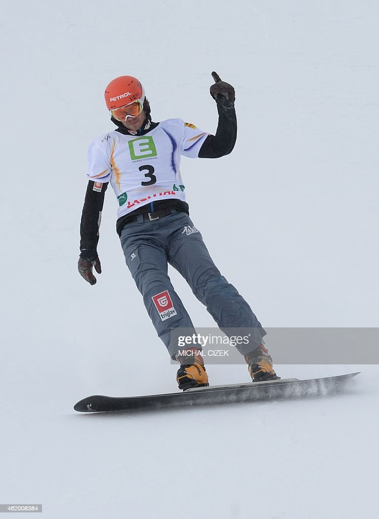 Zan Kosir of Slovenia reacts after the Men's Snowboard Parallel Giant slalom finals at FIS Freestyle and Snowboarding World Ski Championships 2015 in Lachtal near Kreischberg, Austria on January 23, 2015. Andrey Sobolev of Russia won ahead of Zan Kosir of Slovenia and Benjamin Karl of Austria.