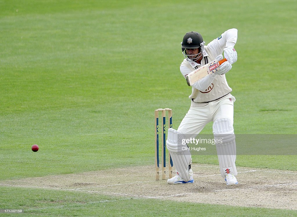 Zander De Bruyn of Surrey bats during day three of the LV County Championship Division One match between Yorkshire and Surrey at Headingley on June 23, 2013 in Leeds, England.