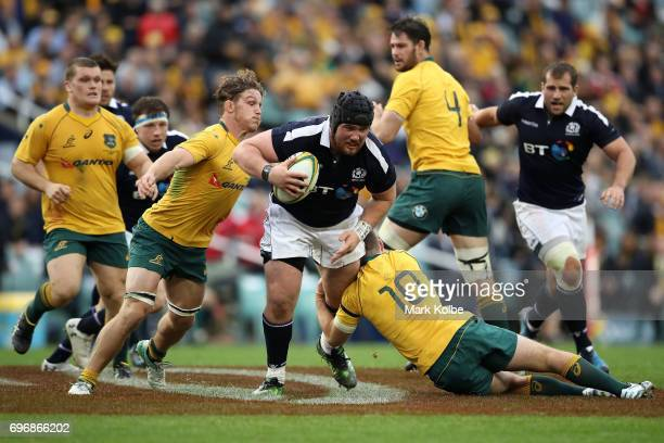 Zander Fagerson of Scotland is tackled by during the International Test match between the Australian Wallabies and Scotland at Allianz Stadium on...