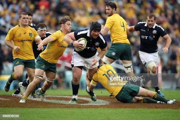 Zander Fagerson of Scotland is tackled during the International Test match between the Australian Wallabies and Scotland at Allianz Stadium on June...