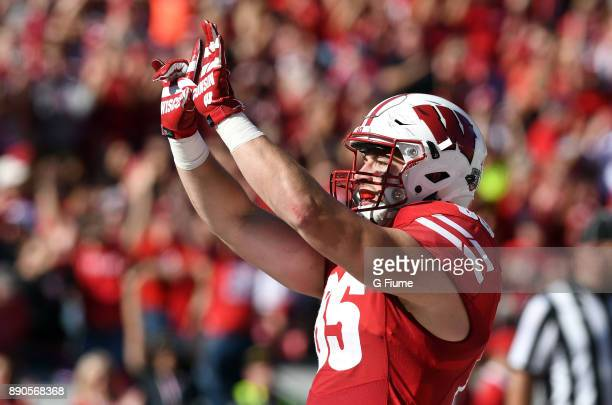 Zander Neuville of the Wisconsin Badgers celebrates after scoring a touchdown against the Maryland Terrapins at Camp Randall Stadium on October 21...